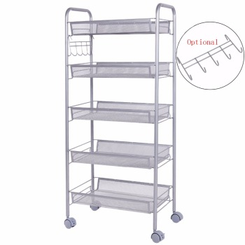 Multi Tiers Home Kitchen Movable Rolling Wire Mesh Metal Shelf Storage Rack  Roller Cart Trolley Organizer
