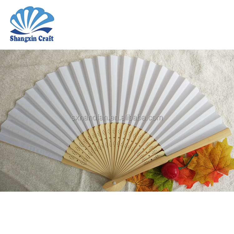Custom wedding favor decoration blank white paper hand fan for wedding gifts