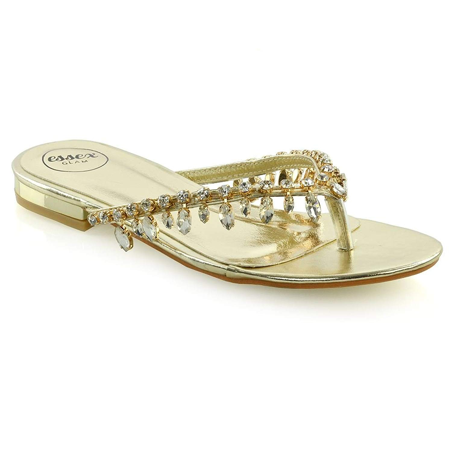 7387cd67cbbe2b Get Quotations · ESSEX GLAM Womens Sparkly Sandals Ladies Toe Post Diamante  Holiday Flip Flops