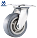 Heavy Duty Plate Swivel Gray Rubber Material Trolley Caster Wheel Supplier With Double Ball Bearing