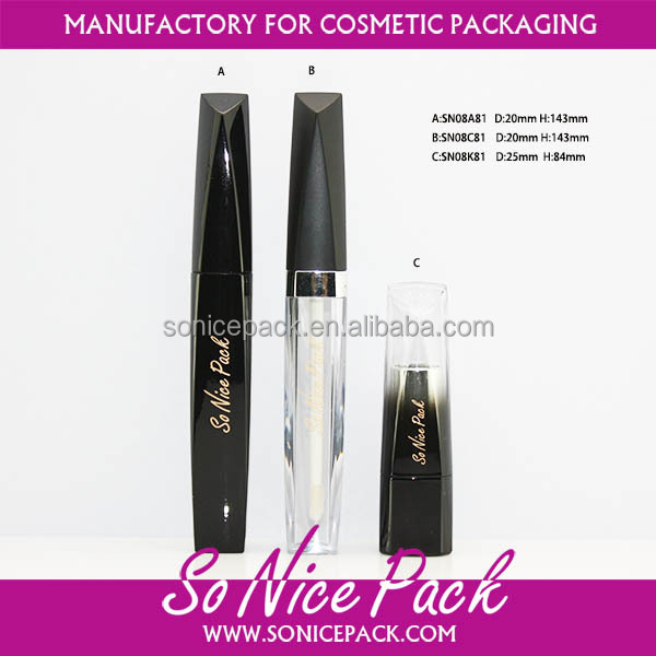 Custom new design empty mascara tube and cosmetic tube