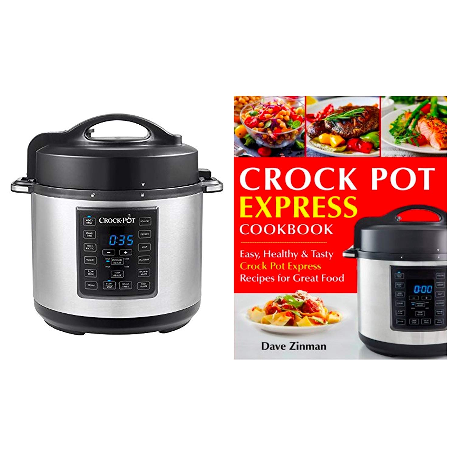 Bundle Includes 2 Items - Crock-Pot 6 Qt 8-in-1 Multi-Use Express Crock Programmable Slow Cooker, Pressure Cooker, Sauté, and Steamer, Stainless Steel (SCCPPC600-V1) and Crock Pot Express Cookbook
