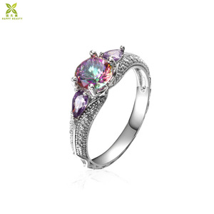 Fashion Jewelry S925 Amethyst Silver Ring Wholesale