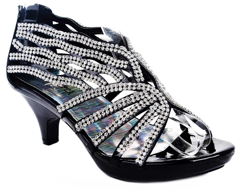 8f172df47 Buy Women Rhinestone Strappy Open Toe Mid Heel Evening Dress Sandal ...