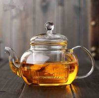 Clear Glass Teapot Heat Resistant Teapots 600 ml /20.3 oz with Infuser for Tea Leaf Loose Tea (600ml)
