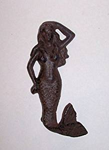 """ABC Products"" - Primitive Heavy Cast Iron - All-Purpose Hook or Hanger - Shaped Like a Mermaid - With a Hooked Tail - (Wall Hung - Rustic Color Finish - Hangs By a ""D"" Ring)"