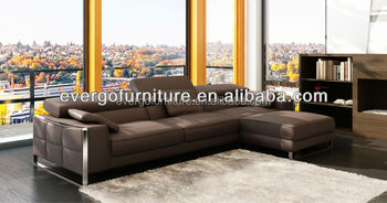 european style popular modern design l shaped sectional real leather sofa set