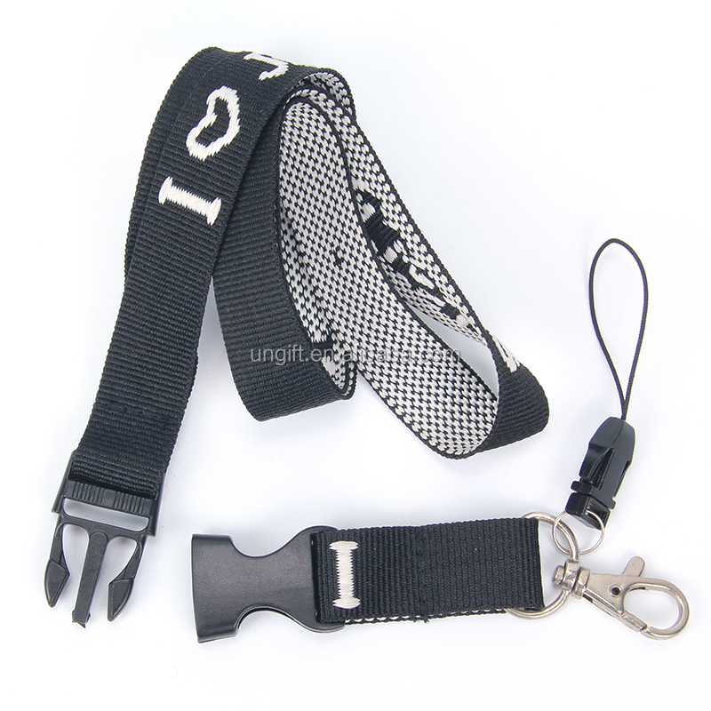 Top quality black color custom logo woven jacquard  lanyard with phone cord