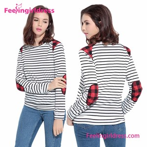 Best Selling Casual Striped Crew Neck Patchwork Summer Blouse Women