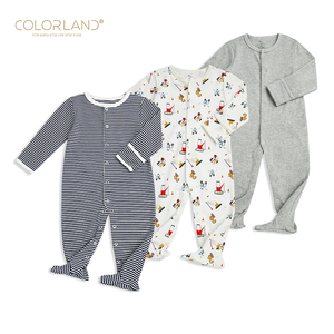 Cotton newborn baby printed footie romper baby outlet clothes