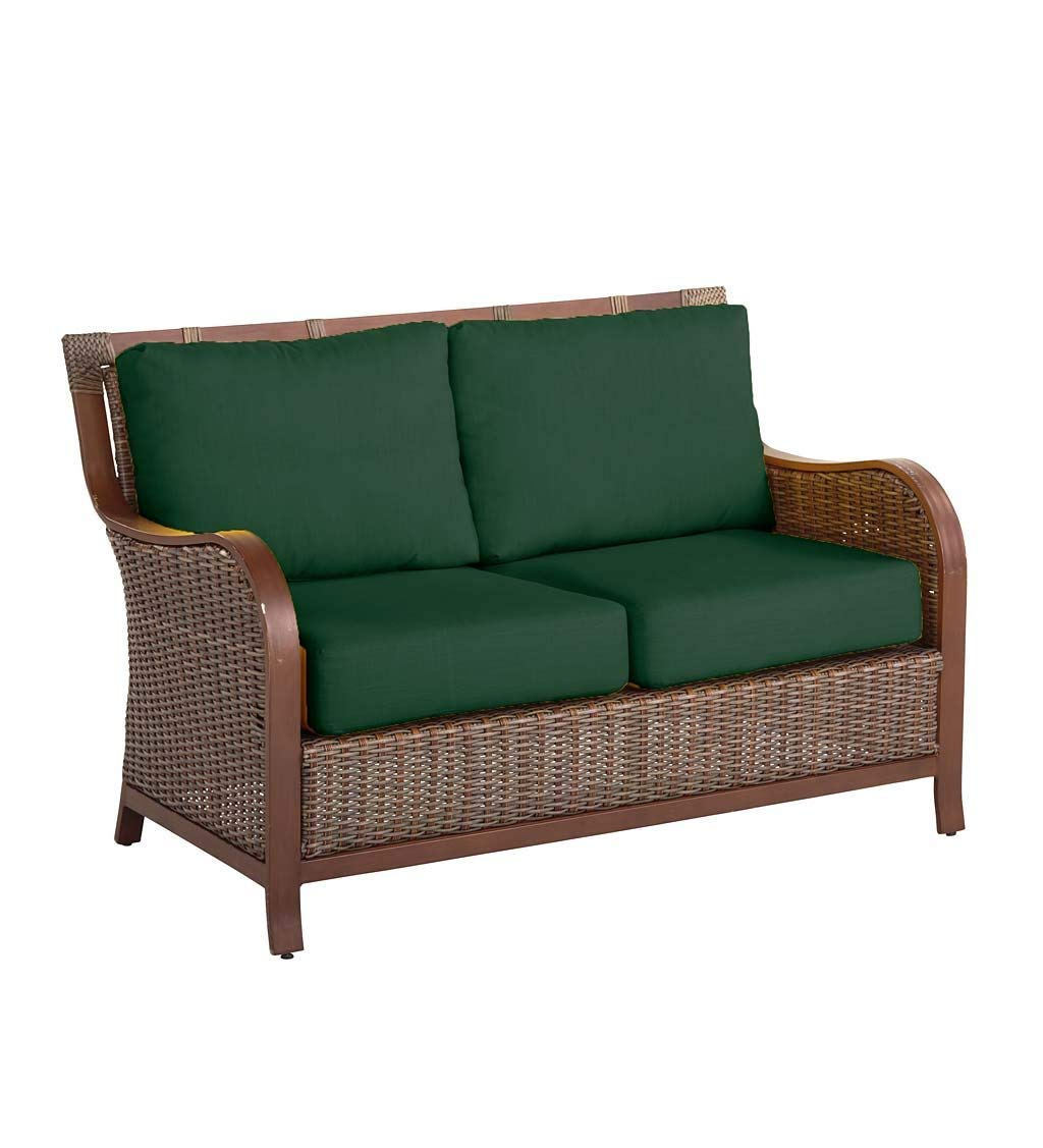 Plow & Hearth Urbanna Premium Outdoor Resin Wicker Patio Love Seat with Luxury Cushions, 54 W x 33 D x 35 H - Forest Green
