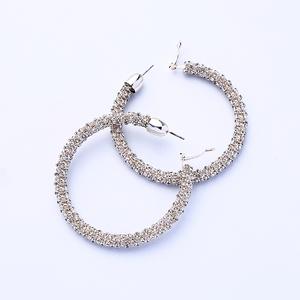 Ted0052 Women Fashion Jewelry Wholesale Big Silver Hoop Earrings Bling Bling Alloy Custom Spring Earrings