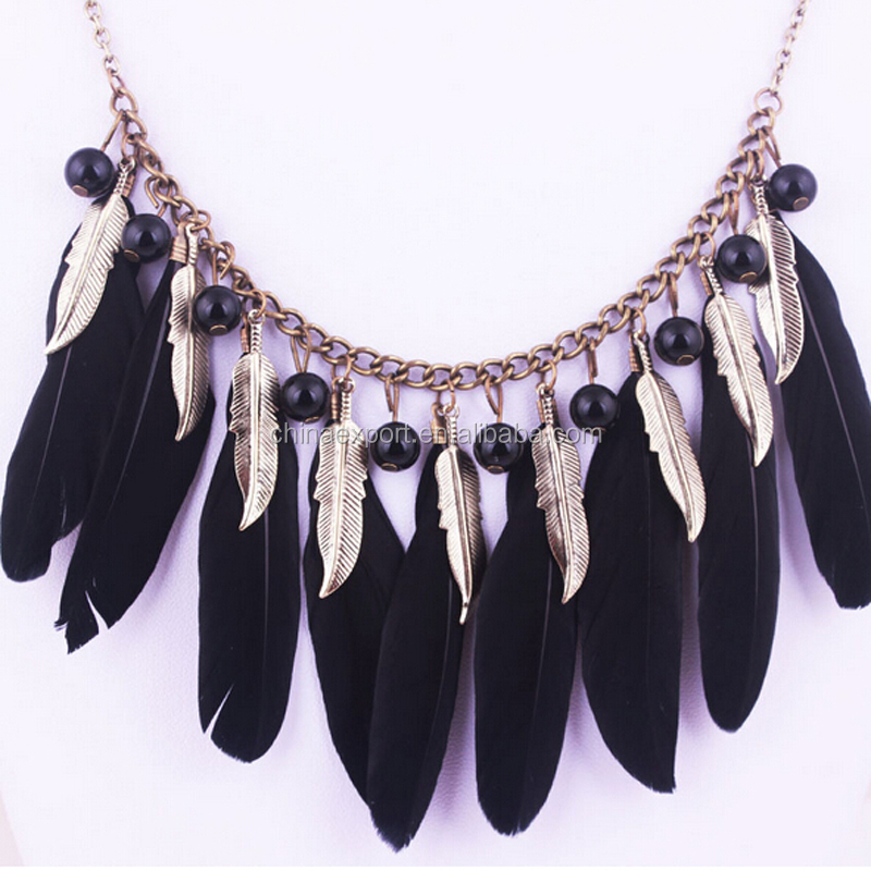 Tribal Native Jewelry Long Chain Necklace With Beaded And Feather Pendants