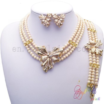 Fashion gold plated brooch bead necklace design jewelry set Chinese wholesaler