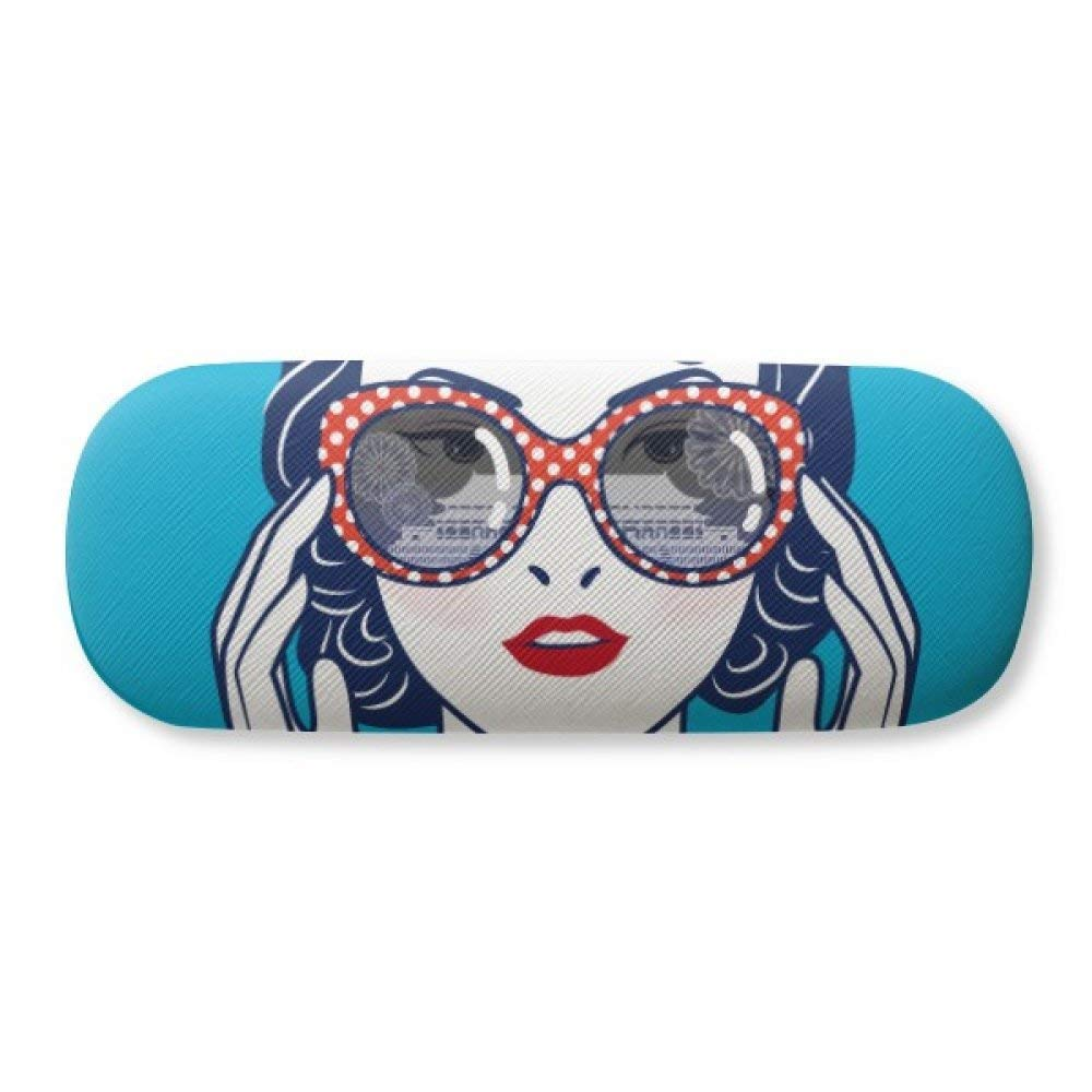 c6470d56358d Get Quotations · Chinese Culture Blue Woman Glasses Glasses Case Eyeglasses  Clam Shell Holder Storage Box
