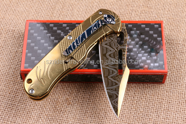 OEM industrial knives colorful Titanium coated folding knifes Pakistan hunting knife blanks