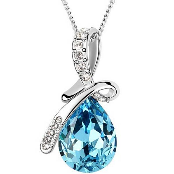 10 цвета австрийских кристаллов ожерелье подвески посеребренная бижутерии и Jewerly 2016 ожерелье женщины мода ювелирных изделий оптовая продажа