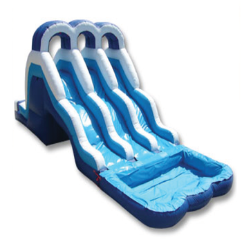 Triple lane safety pool inflatable water slide from Guangzhou