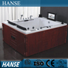 HS-B299 2 person freestanding sexy massage teak wood bathtub with tv