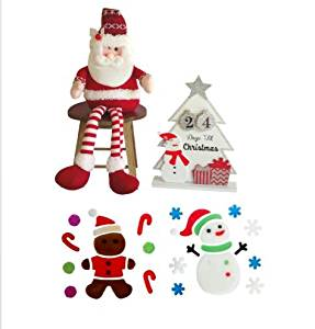 SANTA CLAUSE SHELF SITTER WITH WOODEN DAYS TIL CHRISTMAS COUNTDOWN CALENDAR AND GEL WINDOW CLINGS BUNDLE -CHRISTMAS HOLIDAY DECORATIONS FOR TEACHER CLASSROOM, HOME, OR OFFICE- FUN FOR CHILDREN