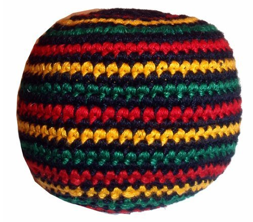 Hacky Sacks / Footbags, Crocheted or Embroidered, Hand Made in Guatemala, Comes with Tips & Game Instructions (Rasta Stripe, Crocheted)