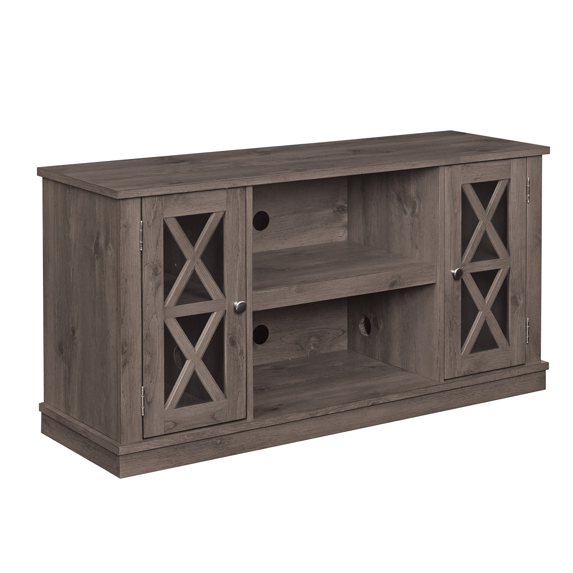 Get Quotations Spanish Gray Finish Azusa Wooden Tv Stand Accommodates 55 Inches Size With 2 Cabinets And