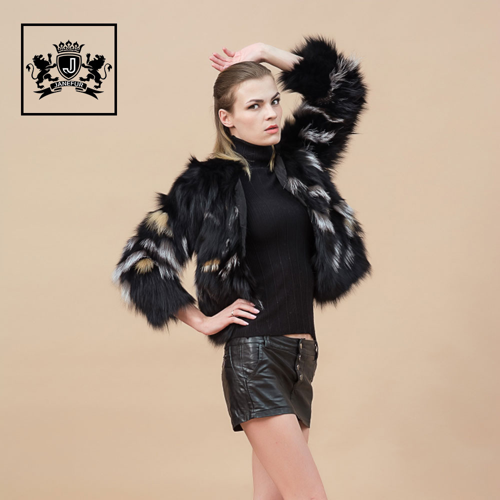 High quality wild style overcoat natural fox fur coat
