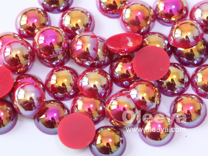 Factory 2mm-14mm Pop Colors ABS  half cut pearls flatback loose white plastic half round pearls for necklace
