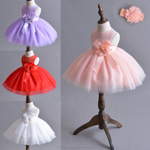 2017 fancy baby girl party dress children frocks designs red pink white tulle sleeveless dress