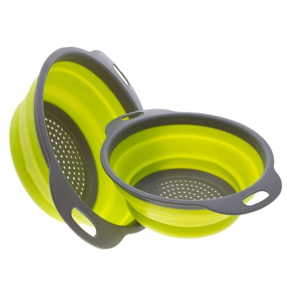 """Large Collapsible Kitchen Colander/Strainer Set - Includes 2 Sizes 8"""" - 2 Quart and 9.5"""" - 3 Quart - Perfect for Draining Pasta, Vegetable (Green)"""