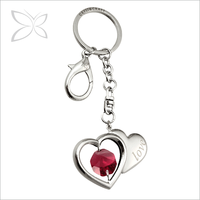 Crystocraft Chrome Plated Metal Red Heart Decorated Crystals from Swarovski Keychain Valentine Days Gift