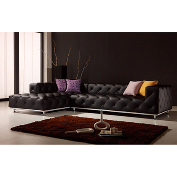 Foshan Living Room Corner Sofa Tufted Black Leather Sofa - Buy Black  Leather Sofa,Corner Sofa Leather,Foshan Sofa Product on Alibaba.com
