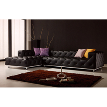 Italian Top Grain leather Tufted L shaped living room sofa for home furniture