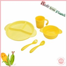 100% new arrival Bamboo fiber pla friendly Biodegradable Plastic cup plates china dinnerware set