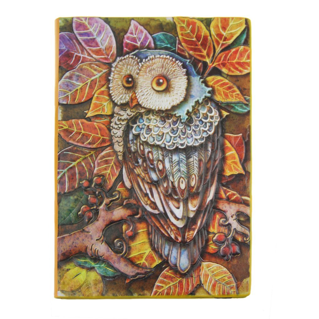 Clobeau Vintage 3D Embossed Relief Owl PU Leather Hardcover A5 Notebook Lined Pages Creative European Retro Notepad Travel Journal Diary Memo Writing Book Gift, 100 Sheets, Color Relief