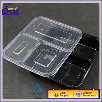 3 Compartment Microwave Safe Food Container Lid Divided Plate Lunch Box