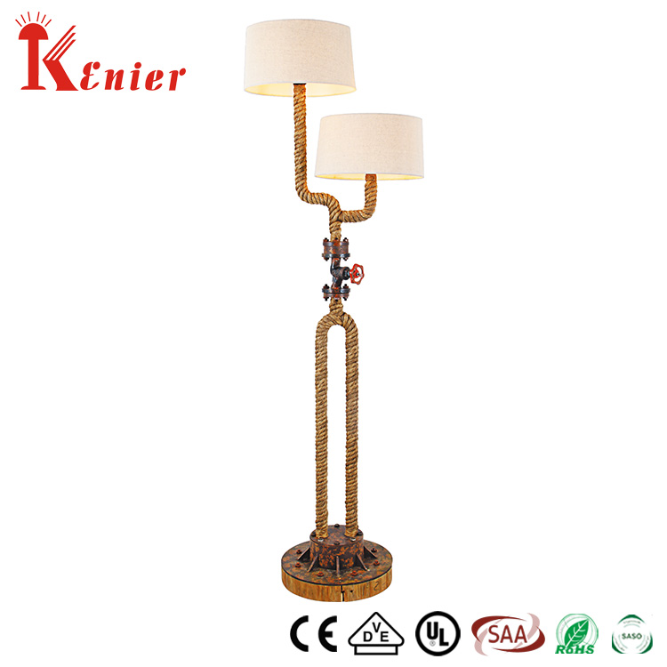 Industrial style flange & fiber glass with hemp rope floor lamp with cotton shade floor lamp