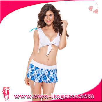 a0a8b6a1e61 Wholesale sexy schoolgirl lingerie set young girls sexy cheerleader costume