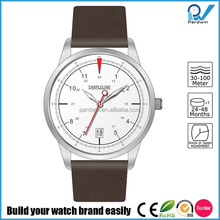 Full-length Leather Strap Japan or Ronda Movt Mineral Glass Face Water Resistant Quartz Watches 3 bar