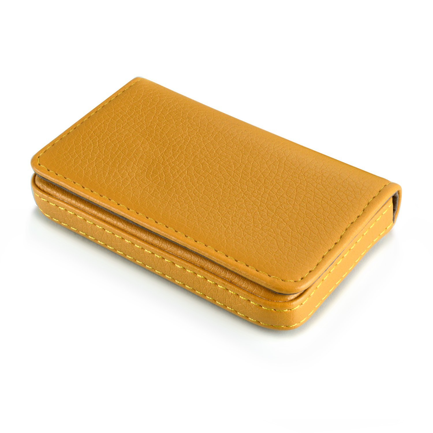 MaxGear Leather Business Name Card Holder/Wallet for Women or Men, Leather Business Card Case Flip Card Wallet for Business Cards, Credit Cards, Driver License, and ID Cards Full Yellow