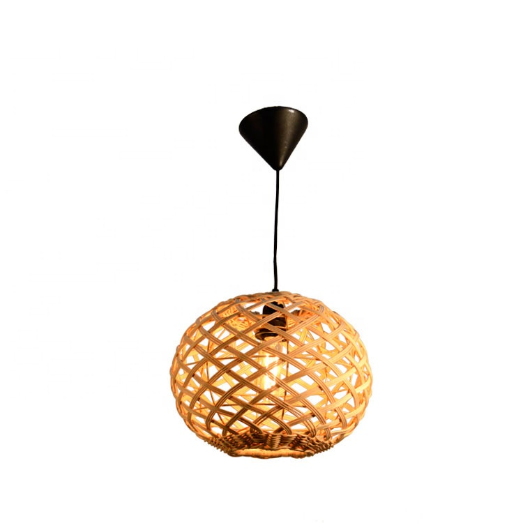 Antique handmade ball natural rattan wicker pendant hanging light