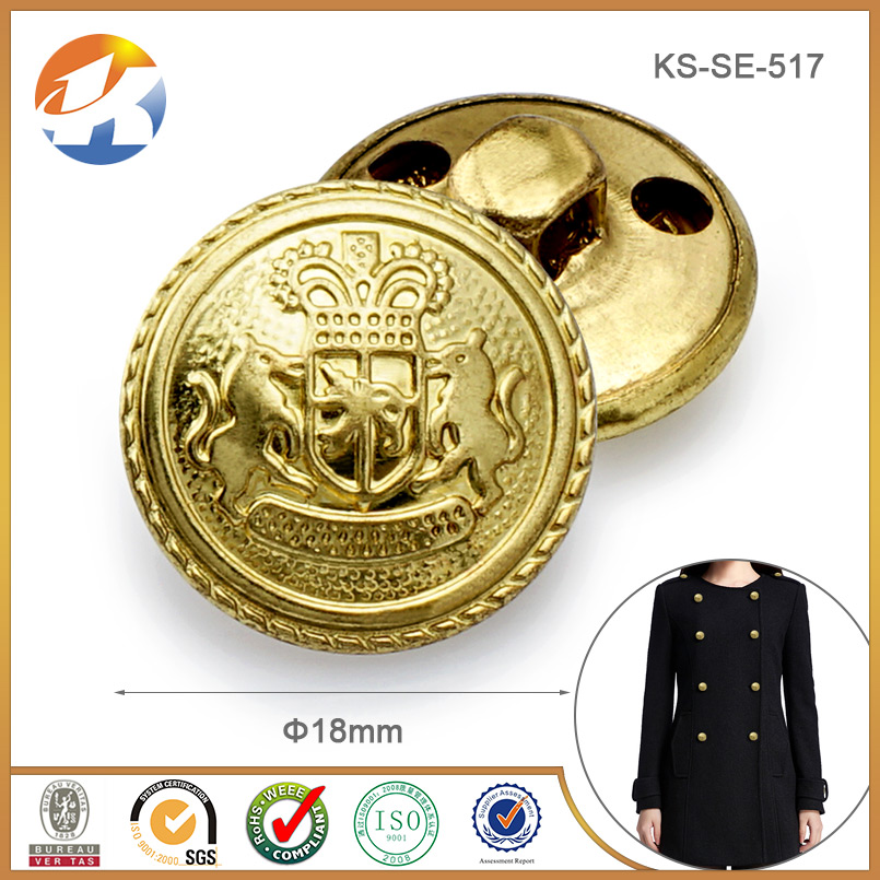 Military gold sewing buttons on jacket