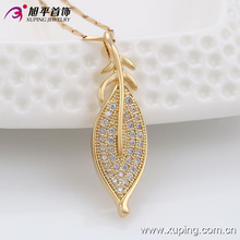 32308 Zircon cooper simple gold plated wholesale China Leaf pave crystal pendant