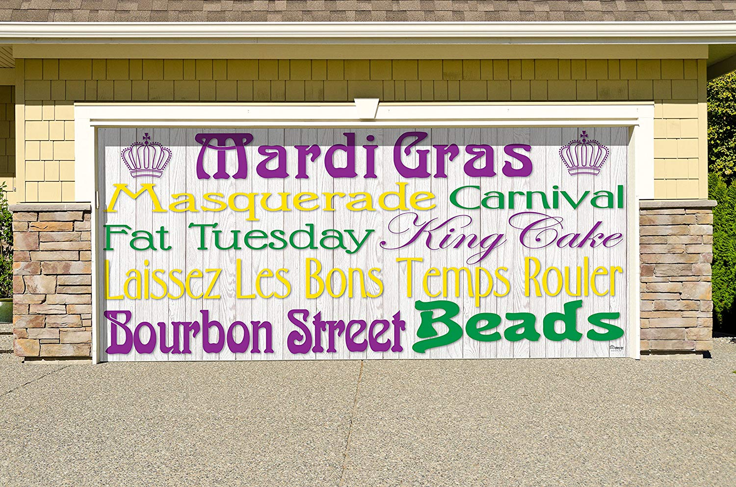 Victory Corps Outdoor Mardi Gras Decorations Garage Door Banner Cover Mural Décoration 7'x16' - Mardi Gras Words -The Original Mardi Gras Supplies Holiday Garage Door Banner Decor