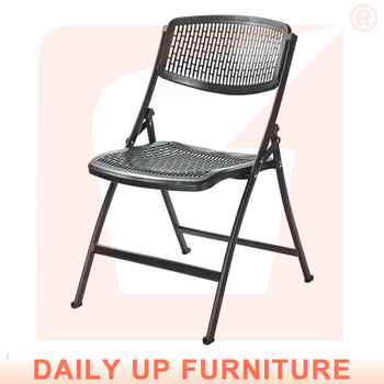 Cheap Metal Folding Chairs Gray White Economic Plastic Chairs Portable  Armless Chair With Hole
