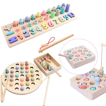 wholesale Multi-function educational shape matching magnetic fishing game toys for kids