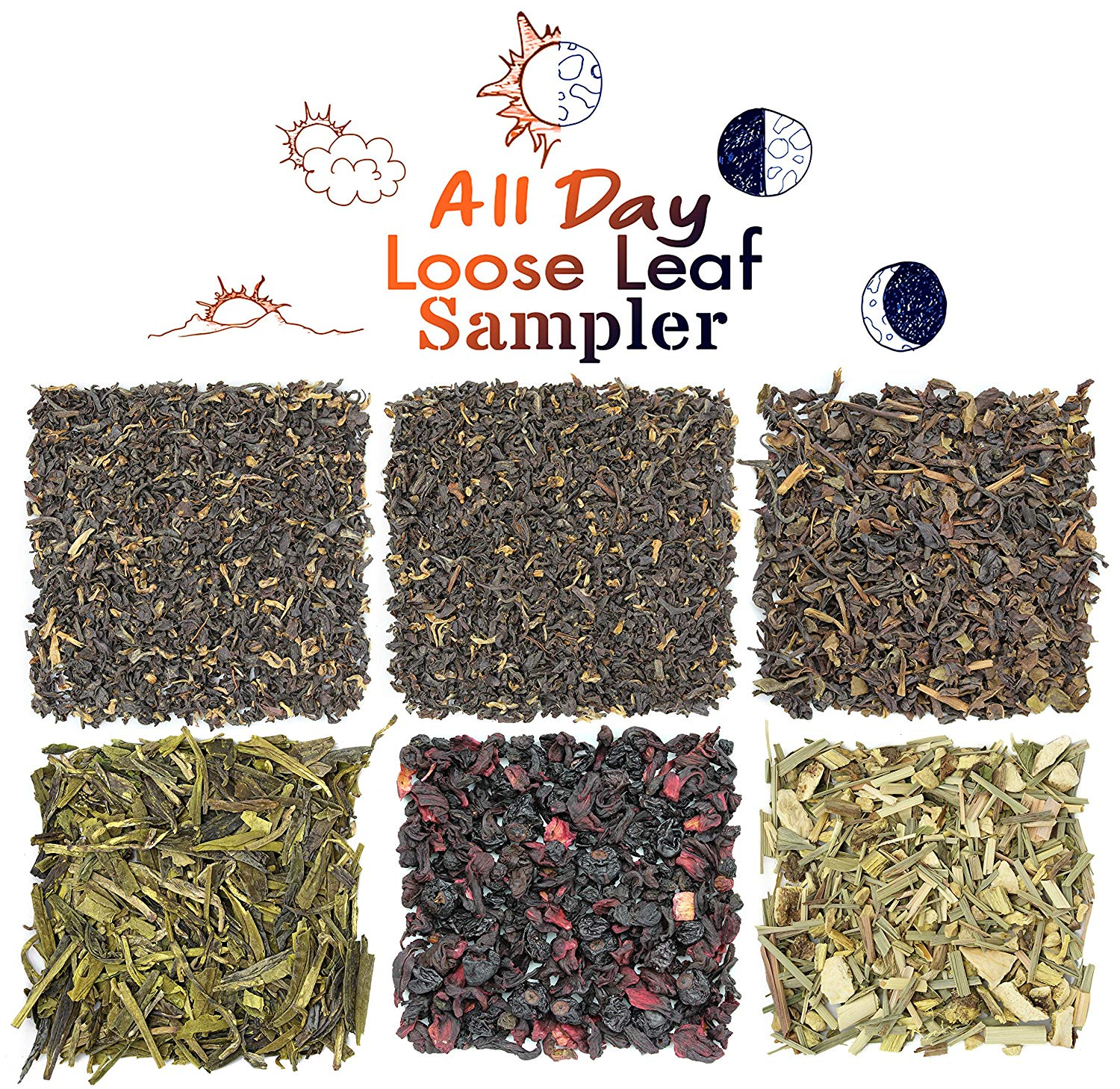 All Day Loose Leaf Tea Sampler Perfect For Hot & Iced Tea, Variety Set of 6 Teas for All Day Enjoyment with Black Morning Teas, Oolong & Green Afternoon Teas, Herbal Night Teas. Approx 90+ Cups