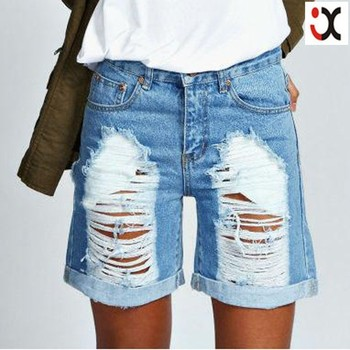 2015 Fashion Design Women Slim Boyfriend Jeans Woman Damaged Denim ...