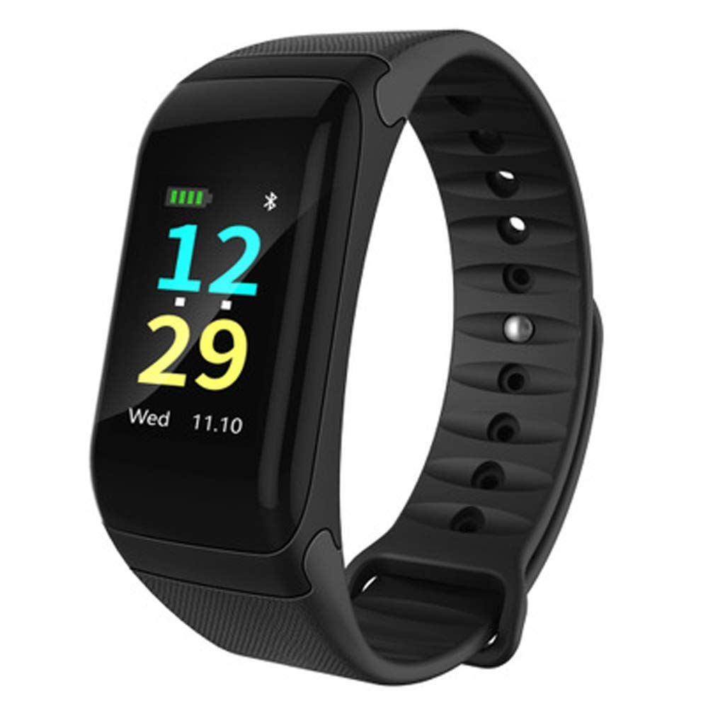 YWY Smart Watches Waterproof Sports Step Heart Rate Blood Pressure Bluetooth Watch Color Screen Smart Bracelet Calorie Step Counter Fitness Watch (Color : Black)