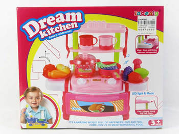 Children Kitchen Toy With Music Electronic Toys Pink Table Set